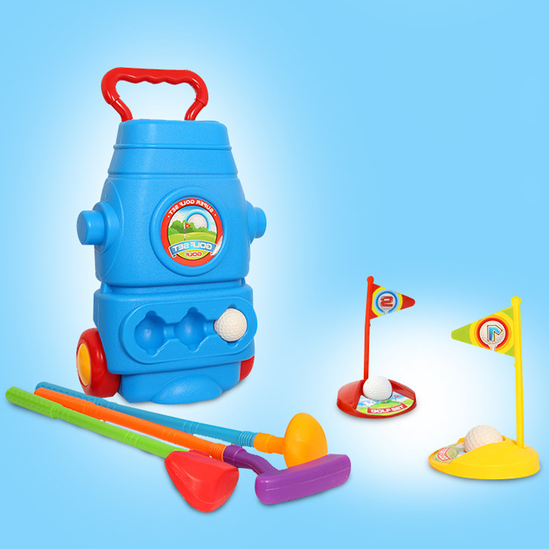 Children Plastic Golf Sports Toy Set Kids Golf Game Toy With 3 Clubs 2 Holes 3 Balls Outdoor Toys Games For Children in Toy Balls from Toys Hobbies