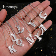 Emmaya Letters Chain Pendants Necklaces Women's Zircon Hip Hop Jewelry With Gold Silver Tennis Chain Party Wedding Gift(China)