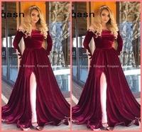 332385e94de91 Burgundy Velvet Long Sleeves Evening Dress 2019 Saudi Arabic Muslim Women  Formal Prom Gowns Dubai Kaftan