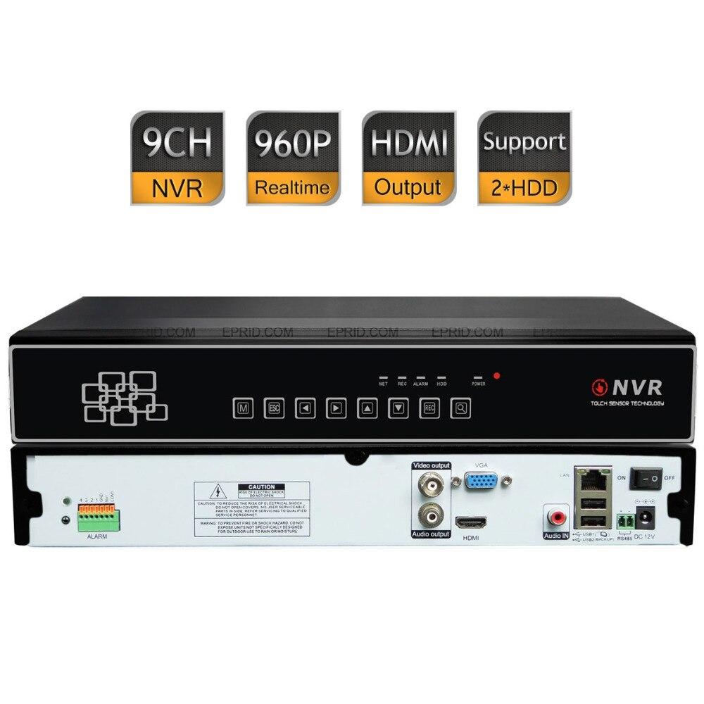 9CH 960 P 720 P NVR HDMI enregistrement réseau enregistreur vidéo numérique P2P 2 SATA