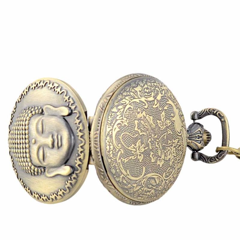 Retro Vintage Bronze Buddha Pocket Watch Vedhæng Mænd ure med - Lommeur - Foto 5