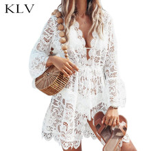 Women Sexy V-Neck Long Sleeves Sheer Floral Lace Mini Skater Dress Drawstring High Waist Hollow Out Beachwear burgundy crew neck drawstring waist long sleeves tracksuit