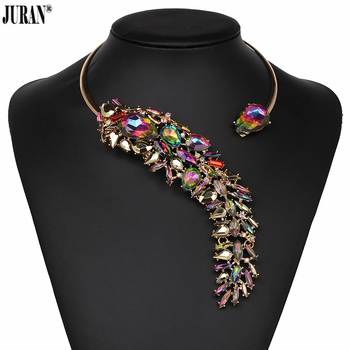 496753a86de3 5 colores elegante cristal bijoux gargantilla collar Torques para mujeres fiesta  noche lujo JURAN moda joyería Accesorios