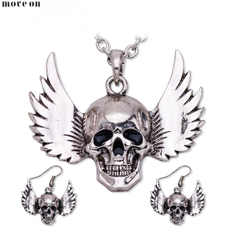 Punk Alloy Jewelry Set Halloween Skull Head Necklace Earrings Long Chain Necklaces Skeleton Pendant For Women New High Gifts