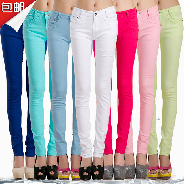 spring summer women fashion thin candy colors jeans