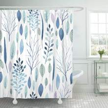 Shower Curtain Blue Winter Cute Watercolor Flower Pattern Big of Floral Save The Date and Many More Bathroom Curtains(China)