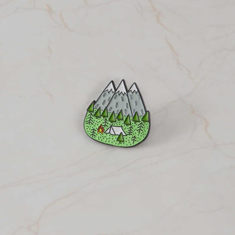 Toerisme Wild Kamperen Broches voor Vrouwen Bergtop Pins Souvenir voor Explorer Emaille Pin Denim Jassen Kraag Badge Sieraden