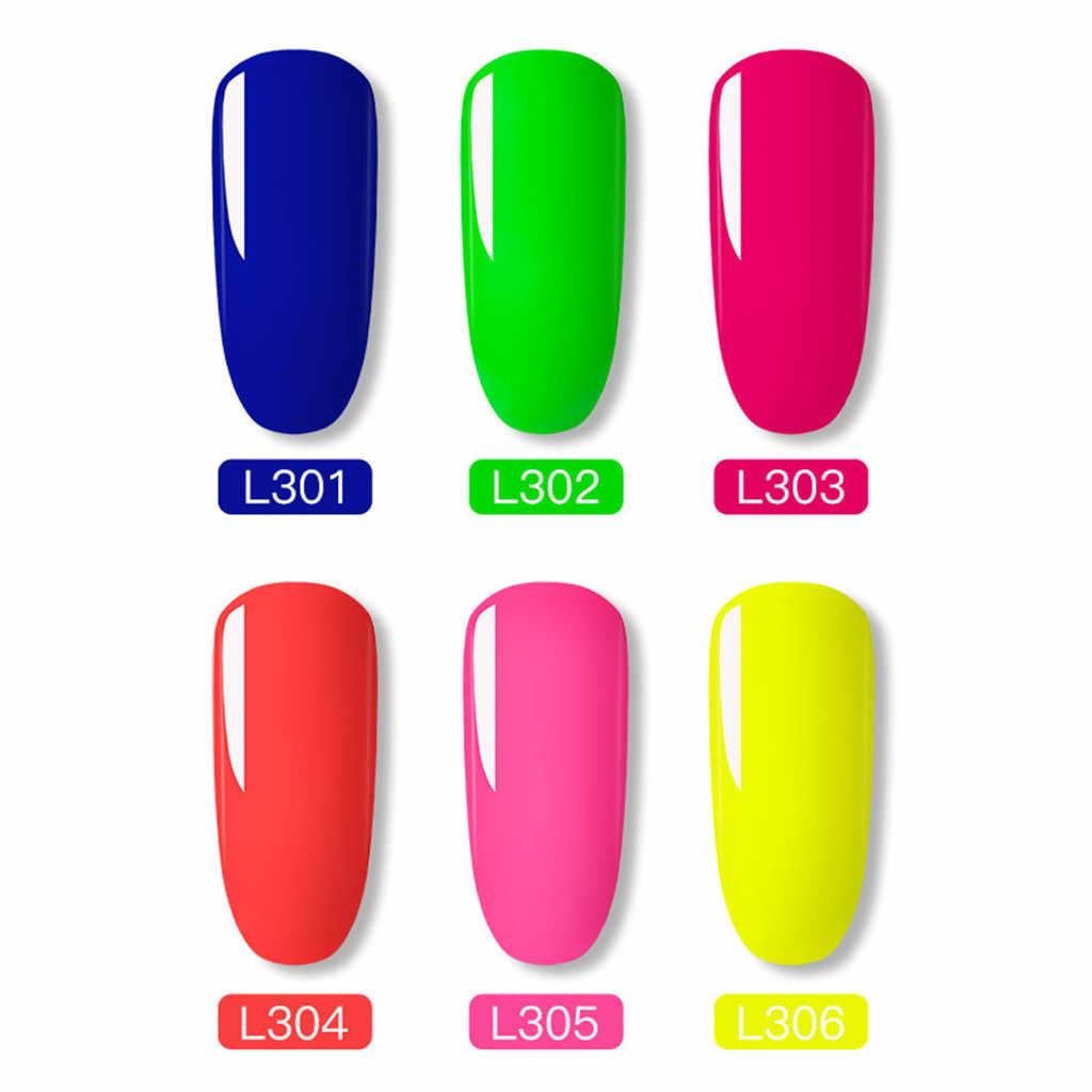 6 ألوان 10 مللي النيون الإسفار هلام مسمار البولندية نقية نقع قبالة UV LED هلام طويلة الأمد ورنيش ورنيش مسمار الفن # a