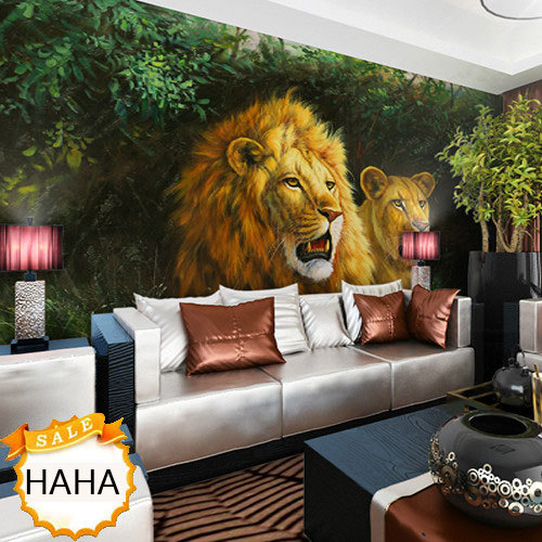 Living Room Jungle free shipping the background of chinese mural bedroom living room