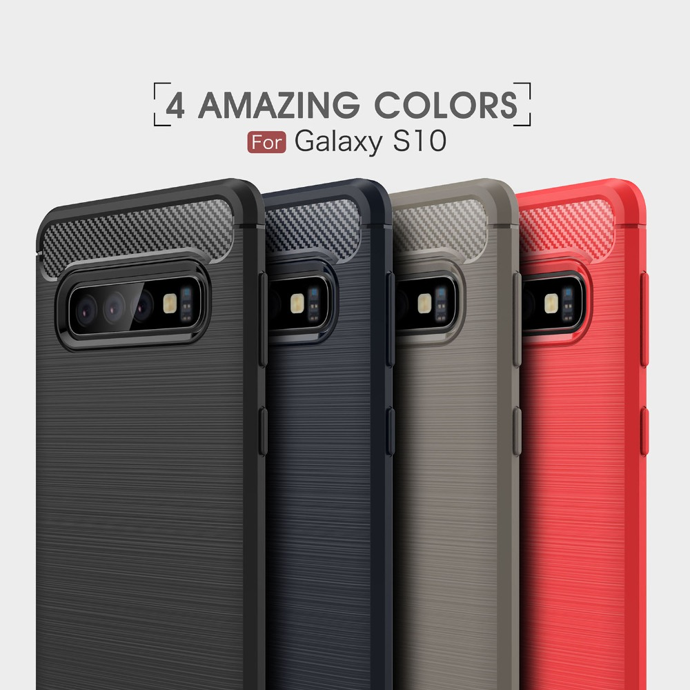50pcs lot Business Case For Samsung S10e Carbon Fiber Brushed TPU Phone Back Case Cover For
