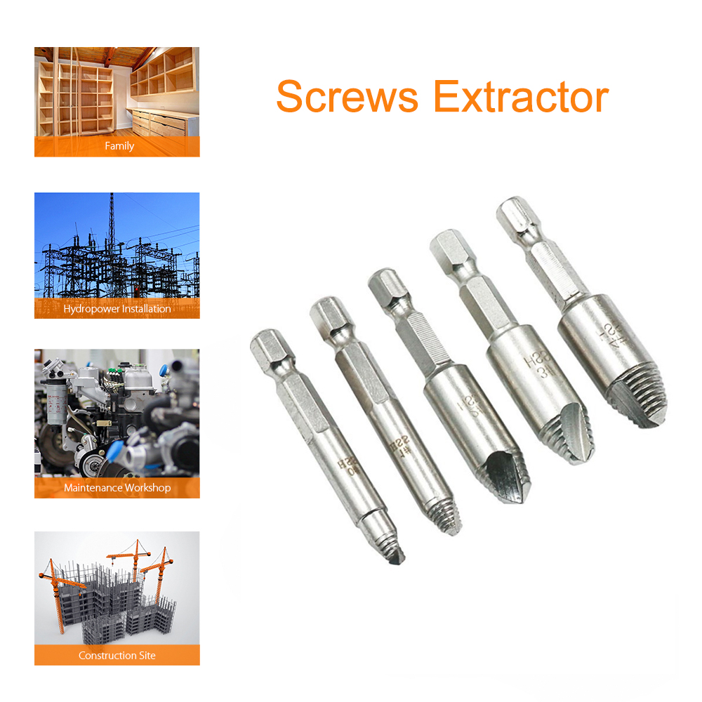 25PCS Pro Screw Extractor Drill Guide For Broken Studs Bolts Fastener Tolols Kit