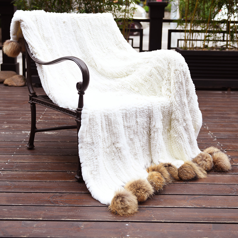 CX-D-108 Decorative Sofa Blanket Throws Rex Rabbit Fur Knit Throw With Racoon Fur