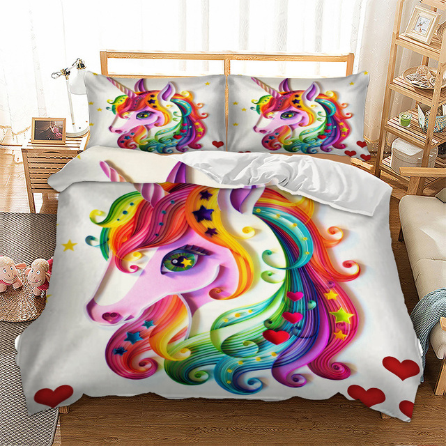 3D Digital Printing Rainbow Colorful Hand Drawn Floral Unicorn Bedding Set 100% Microfiber White