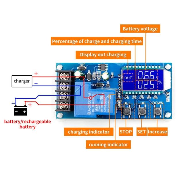 Placa de protección de controlador de carga de batería Solar de plomo, 6 60v, 30A, 10A, interruptor de tiempo de cargador, 12v, 24v, 36v, 48v, capacidad de batería