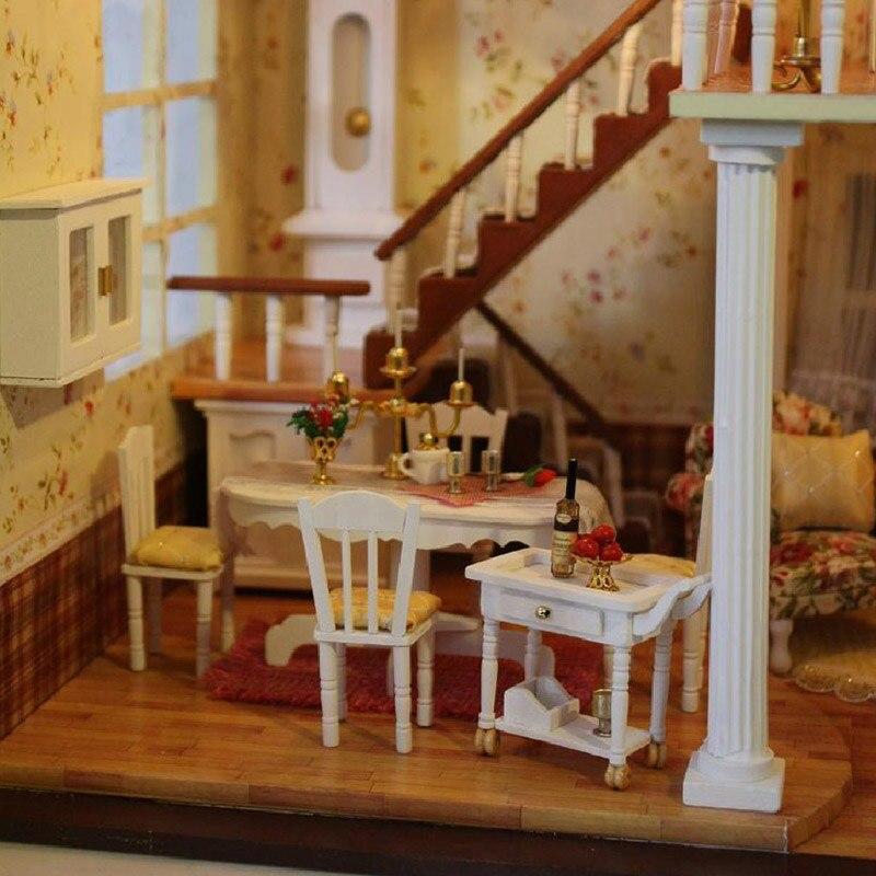 Cutebee DIY Casa miniatura con muebles LED música polvo cubierta modelo bloques De construcción juguetes para niños Casa De Boneca - 5