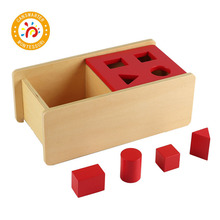 Montessori Kids Toy  Imbucare Box With Flip Lid - 4 Shapes Wood Learning Educational Preschool Training