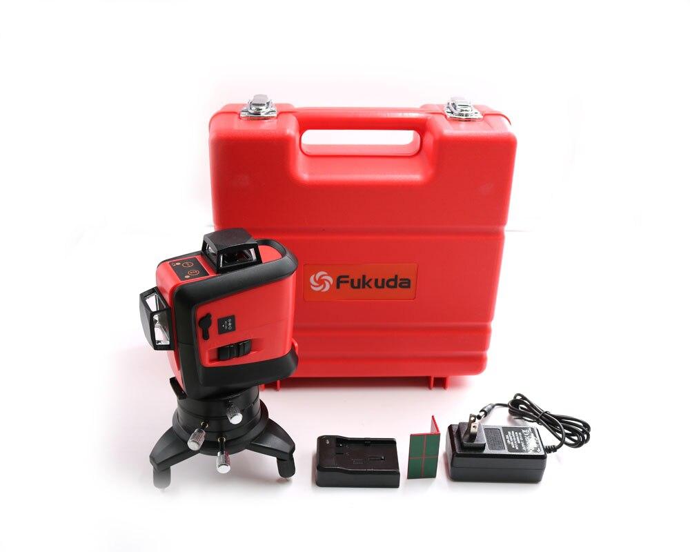 Fukuda12Lines Bateria Leão 3D 93 T 360 Horizontal E Vertical do Nível de Auto-Nivelamento A Laser Cruz Super Poderoso Laser Vermelho Linha de feixe