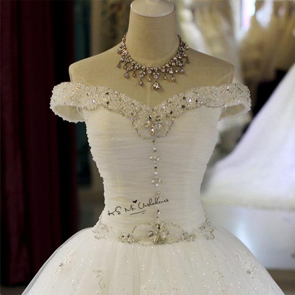 Sparky Vintage Wedding Dress Lace Sequined Vestido de Noiva Princesa Bride Dresses 2018 off Shoulder Custom
