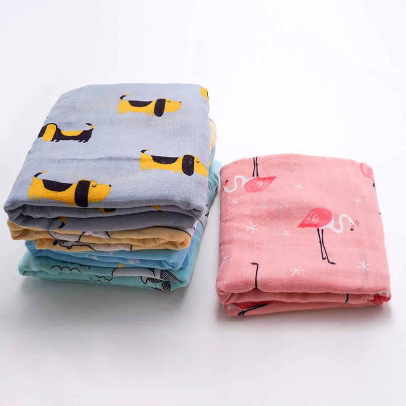 Muslinlife Baby Swaddle Wrap suave Manta de algodón de bambú para cochecito de bebé uso lindo conejito unicornio ballena bebé manta 120*120cm