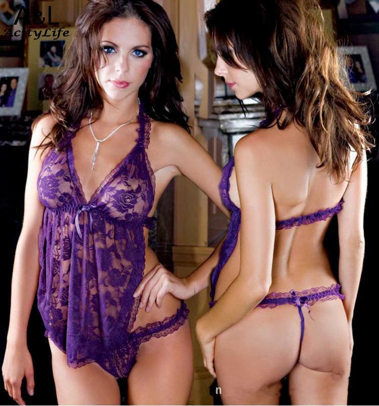 Halter Sexy Lingerie Women Lace Apron Bodysuit Sleepwear With Open underwear