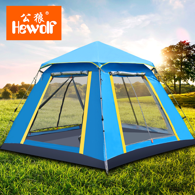 Hewolf Double Layer Awning Beach Tent Sun Shelter Outdoor Tent UV Protection Mat-Awning Camouflage Nets Shelter Camping tent high quality outdoor 2 person camping tent double layer aluminum rod ultralight tent with snow skirt oneroad windsnow 2 plus