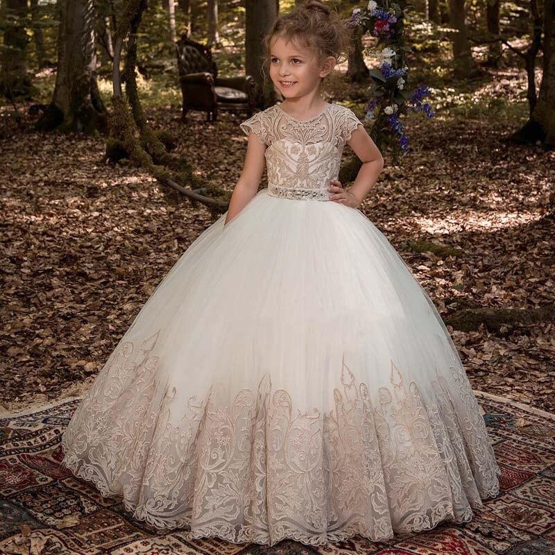 Fluffy Princess Dress Wedding Long Dress First Communion Dress Girls Flower Children's Clothing Kids Ball Gown Baby Costume