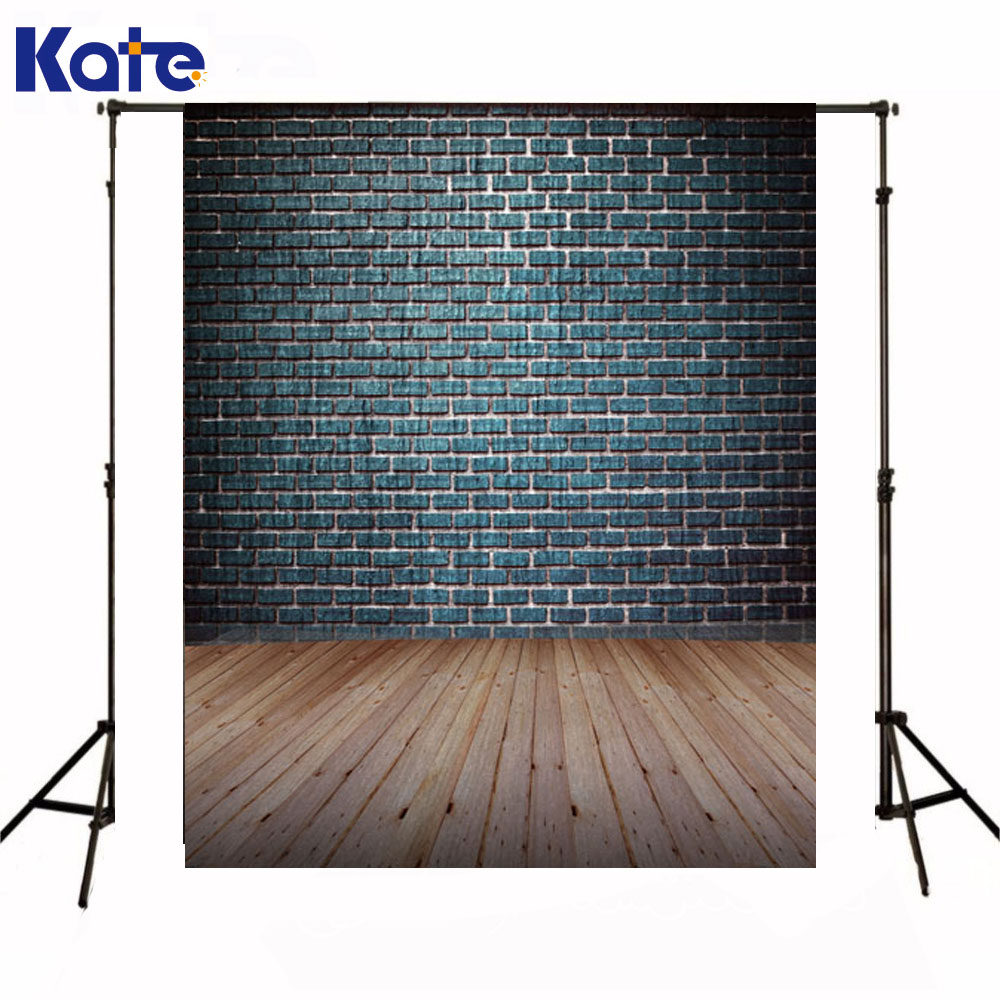Kate Background Photography Newborn Baby Dark Blue Brick Wall Fond De Studio De Wooden Floor Backdrop For Photo Studio