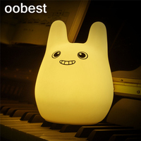 Oobest 7 Colors Children Cut Animal LED Night Light Silicone Soft Cartoon Baby Nursery Lamp Breathing