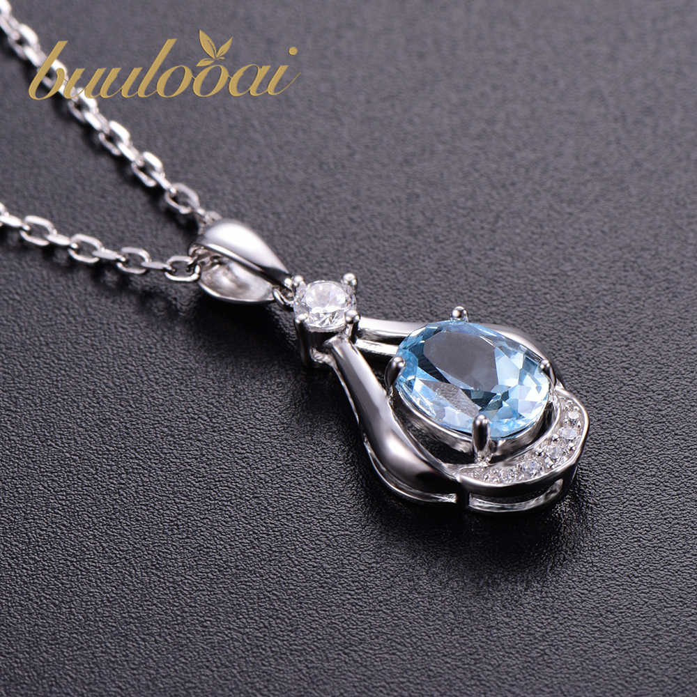 buulooai Solid 925 Sterling Silver Necklaces Pendants for Women Gemstone Sky Blue Topaz Engagement Wedding Jewelry no chain