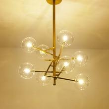 купить Modern led pendant lights Iron dining room Lamparas clear globe glass hanging lamps gold suspension luminaire parlor AC90-261V онлайн