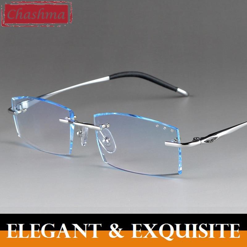 Rimless Titanium Diamonds Cutting Prescription Glasses Male Colored Lenses Optical Frame