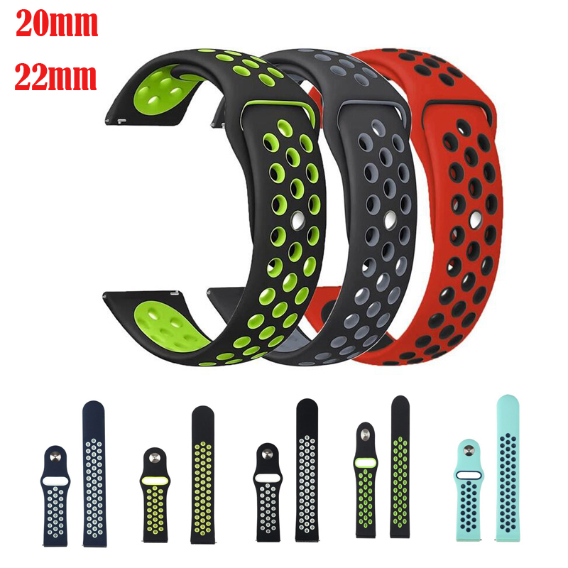 silicone strap sport band for samsung gear s3 s2 classic huawei watch 2 xiaomi huami amazfit pace lite pebble time steel 20 22mm 22mm 20 Silicone Rubber Strap For huami amazfit 12 lite Ticwatch 1 2 E pebble time for samsung gear sport s3 s2 s4 Sport Band