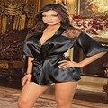 Мода Женщин Сексуальный Шелковые Кружева Кимоно Халат Банный Халат Белье Ночная Рубашка Белье Ночное Белье Стринги