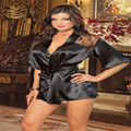 Fashion Women Sexy Silk Lace Kimono Dressing Gown Bath Robe Lingerie Nightdress Lingerie Nightwear Underwear G-string