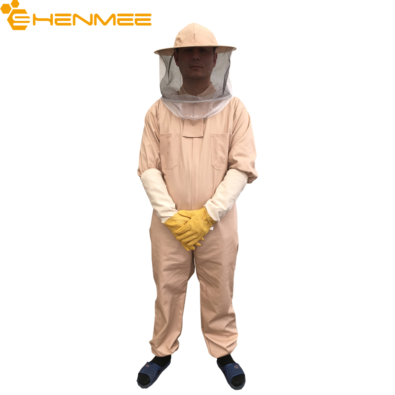 Top Quality 100 Cotton 1Pcs Beekeeping Suit And 1 Pair of gloves With Fireproofing Veil L