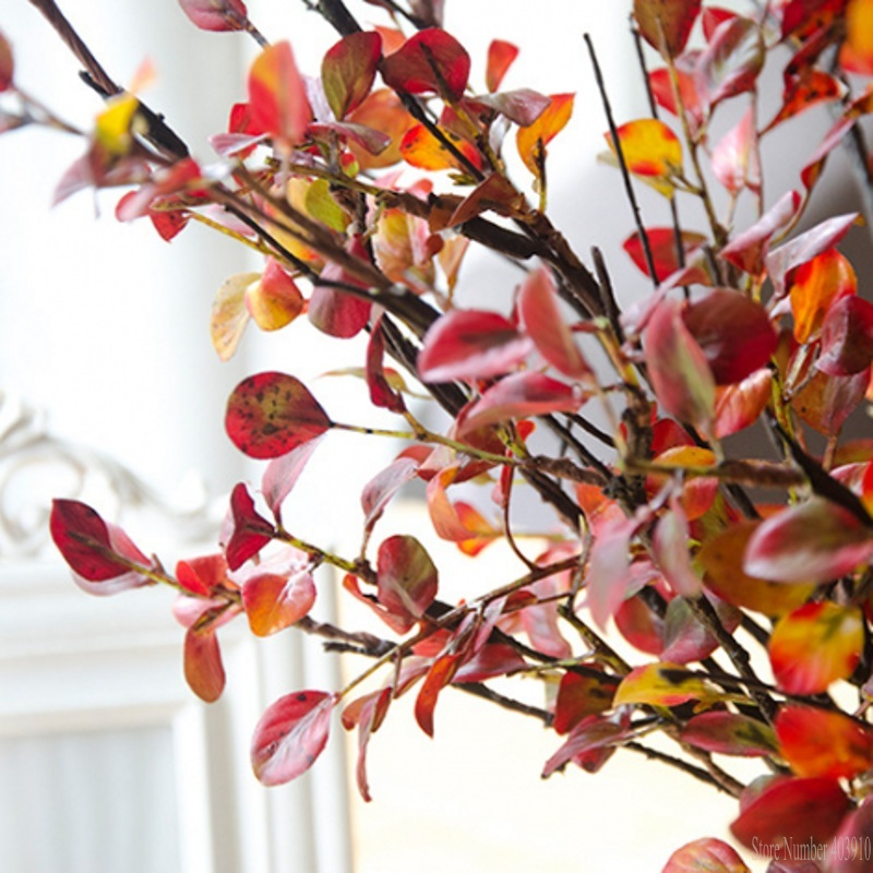 Artificial Plastic Tree Branches with red silk leaves for autumn home Christmas decoration fake flowers plants leaf floristics in Artificial Dried Flowers from Home Garden