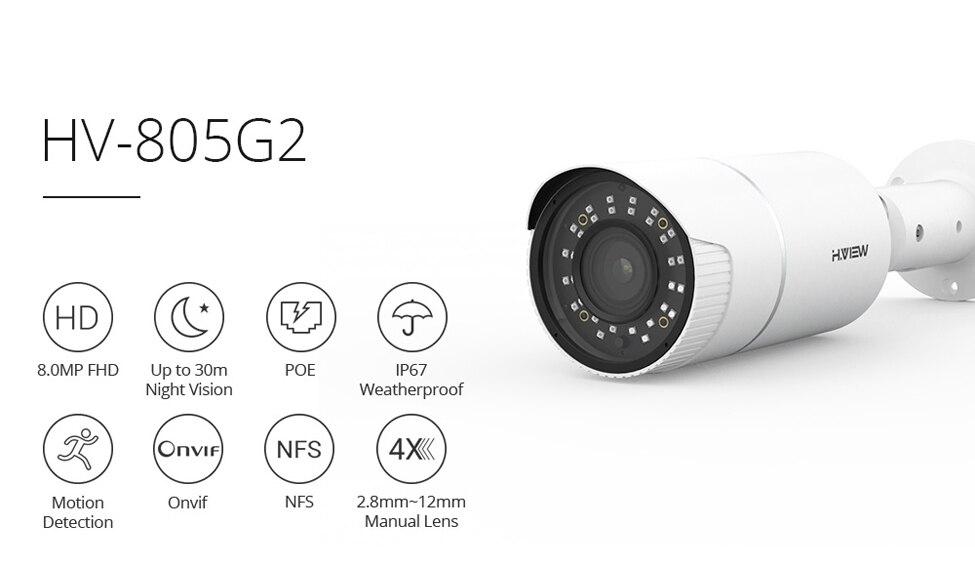 H.VIEW PoE IP Camera 8mp H.265 CCTV Camera PoE Cameras Outdoor 4X Optical Zoom Auto Focus IP67 Onvif NAS IP Cameras (2)