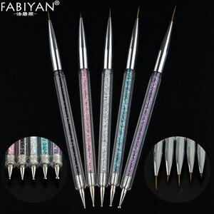 Image 4 - 5 boyutu Nail Art süsleyen kalem akrilik Rhinestone kristal 2 yollu UV jel boyama manikür aracı çizim astar çiçek fırça dekorasyon