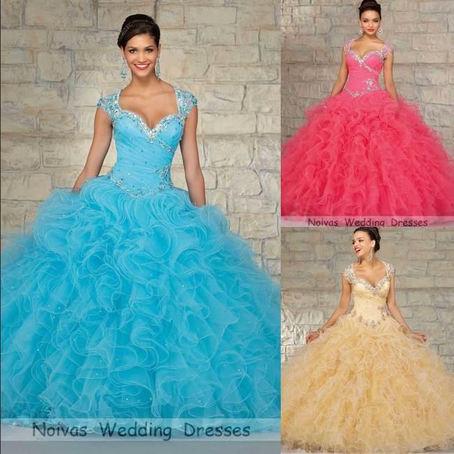 Vestidos De 15 Anos Azul Baby Blue Quinceanera Dresses Ball Gowns 2015 Debutante - Noivas Beauty Store store