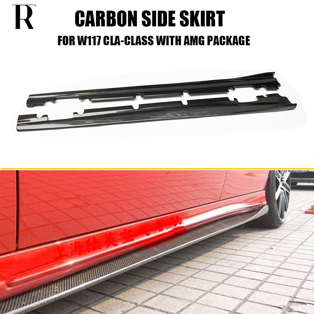 W117 R Style Carbon Fiber Side Bumper Skirt for Benz Cla-Class CLA200 CLA220 CLA260 CLA45 With AMG Sport Package 2013 - 2019