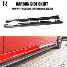 W117 estilo R falda de parachoques lateral de fibra de carbono para Benz Clase Cla CLA200 CLA220 CLA260 CLA45 con paquete deportivo AMG 2013-2019