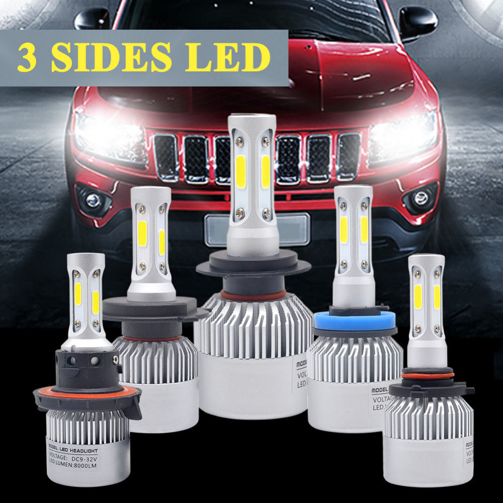 H4 Car LED Headlight 72W 6500K 3 Sides COB Chips Auto H11 H13 9005 9006 9007 H7 LED kit Headlamp fog light Automobiles Parts car headlight led h4 h7 h11 72w 8000lm 6000k led h1 h3 h13 9005 9006 9004 880 9007 auto cob bulb automobiles headlamp car light