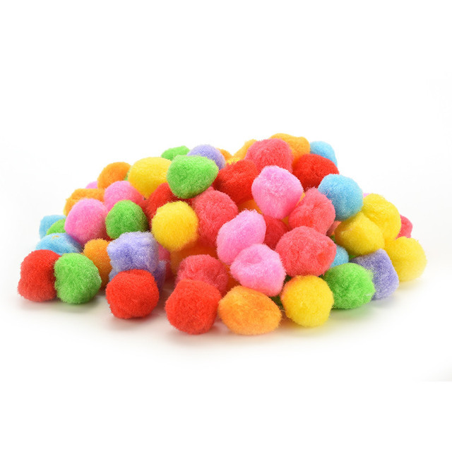 100 Pcs Mixed Colour Assorted Mini Fluffy Pompoms Pom Poms Ball Clothes Yarn Decor DIY Kids Craft Toys 20mm 30mm 40mm