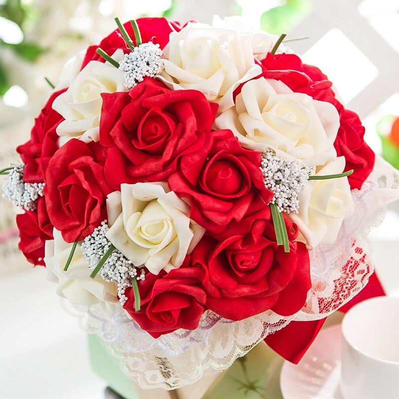 2017 Artificial Rose Wedding Bouquet Bridal Bouquet Bridesmaid bouquet de mariage buques de noivas bruids boeket ramo boda (6)