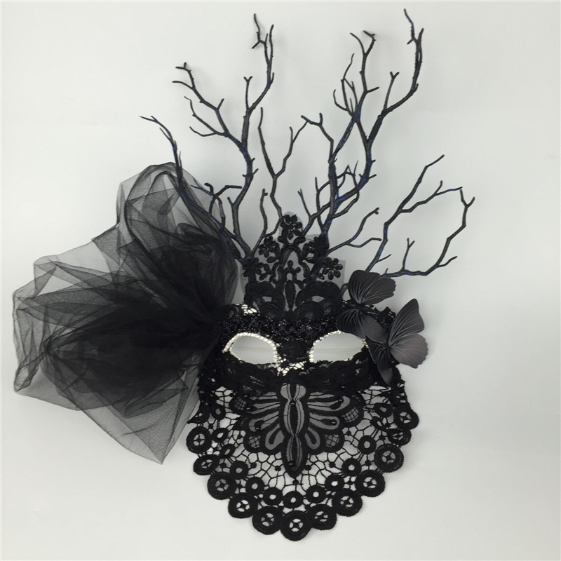 Black mystery halloween exaggerated mask bar performance mask in Party Masks from Home Garden