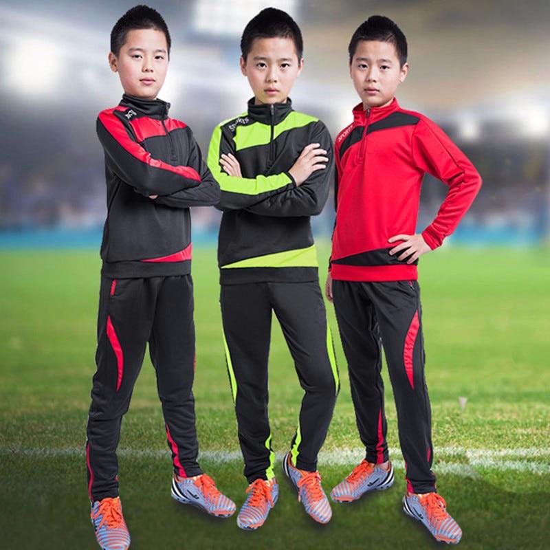 Running Long Sleeve Soccer Outfit Kids 2016 2017 Soccer Suit Kids Training Football Shirt Pants ...
