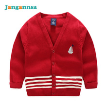 Fashion Striped Cotton Boy Sweaters Boys V-Neck Sweater Kids Embroidery Sailboat Coat Baby Cardigan Spring Autumn Boys Clothing