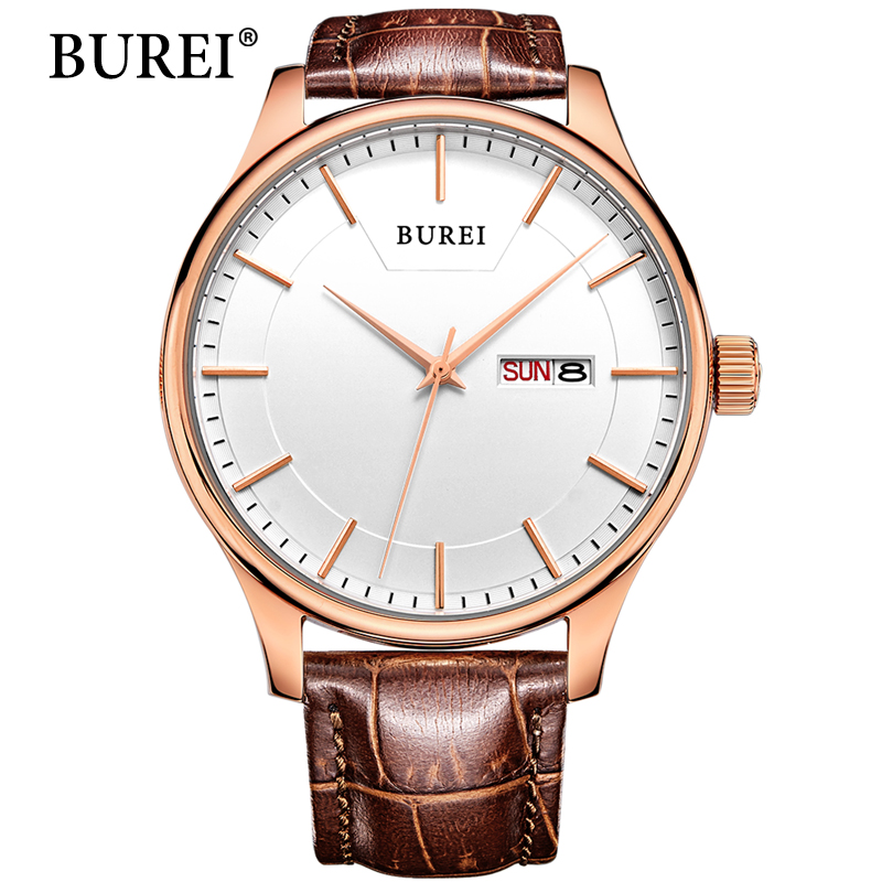 цены  Real BUREI Men Watch Day And Date Display Male Clock New Big Dial White Lens Black Leather Strap Quartz Wristwatch Hot Sale