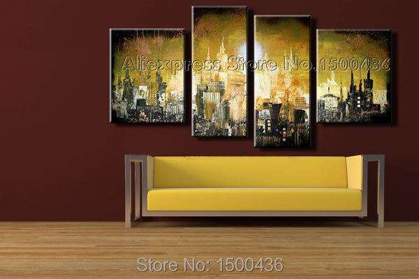 Hand Painted Abstract Cityscape Oil Painting On Canvas 4 Piece ...