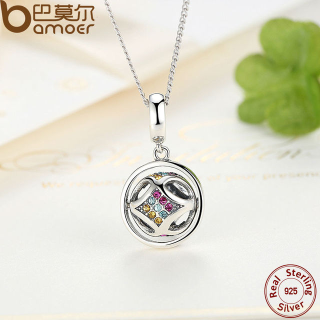 Sterling Silver Colorful Crystal Pendant Necklace